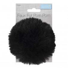 Faux Fur Pom Pom Black